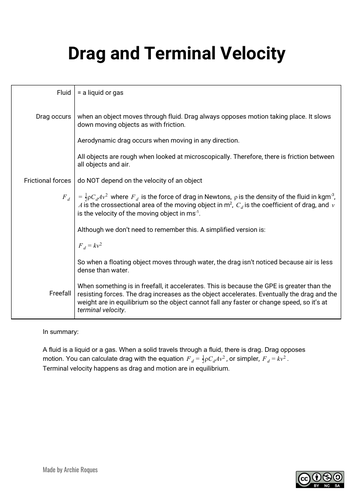 Drag and Terminal Velocity sheet for A Level physics
