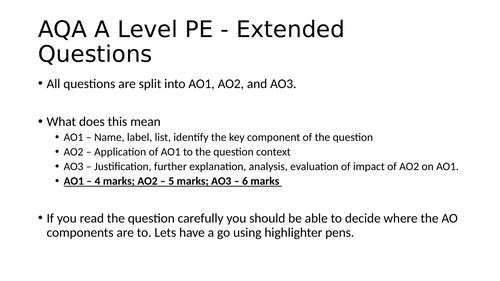 How to plan and structure responses to extended questions - A Level PE