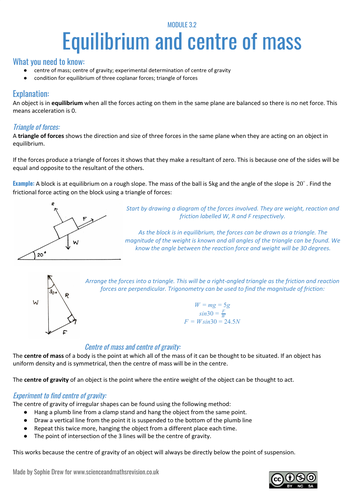 Equilibrium and centre of mass sheet for A Level physics