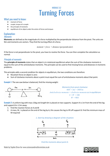 Turning forces sheet for A Level physics