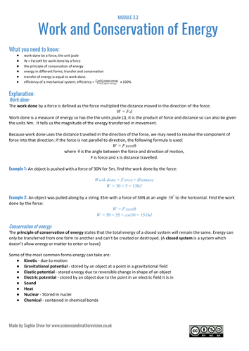 Work and Energy resource for A Level physics