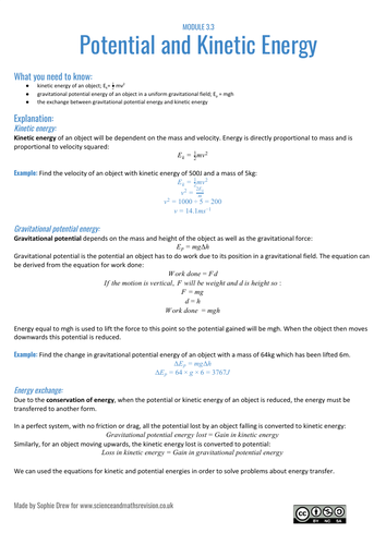 Potential and Kinetic energy sheet for A Level physics