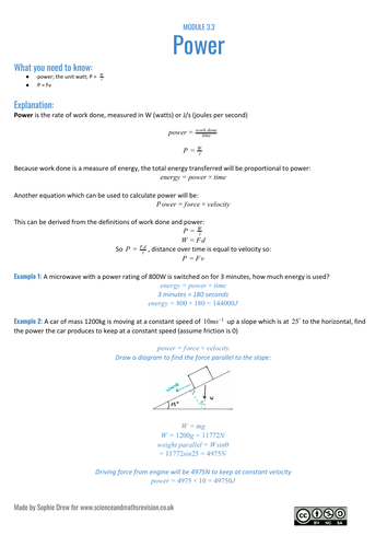 Sheet on power for A Level physics