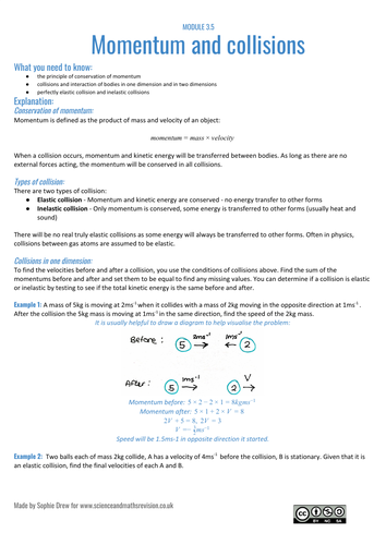 Momentum and collisions sheet for A Level Physics