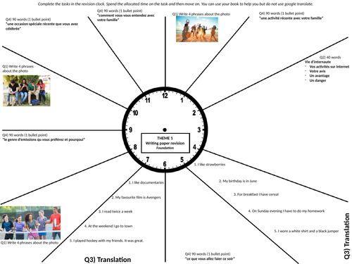 GCSE AQA French Foundation Writing Revision Clocks
