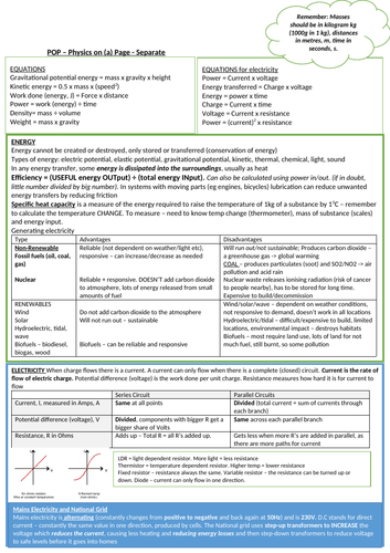 Physics on a page revision for AQA GCSE Physics Paper 1 - crib sheet