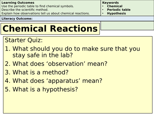 Chemical Reactions and Rates for Low Ability or SEN