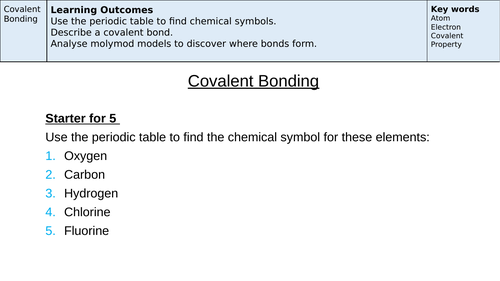 Covalent Bonding Low Ability / SEN