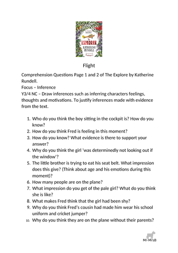 The Explorer Comprehension Questions Inference Focus