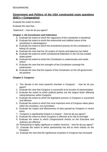 Politics A-Level (Edexcel) Essay Questions - US Politics