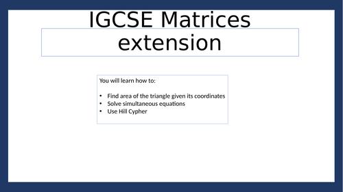 IGCSE matrices extension