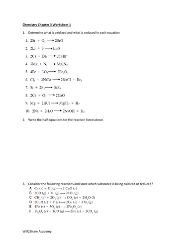 Oxidation and Reduction (Redox) Worksheets and Answers