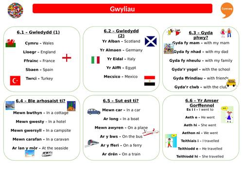 Revision Sheet - Gwyliau - Taflen Adolygu
