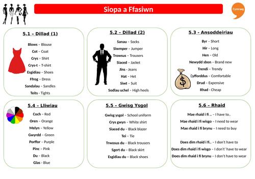Revision Sheet - Siopa a Ffasiwn - Taflen Adolygu