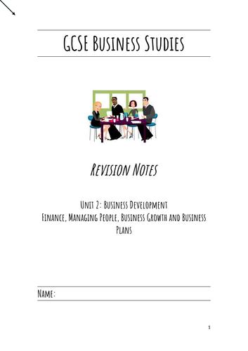 GCSE Business Studies Unit 1 & Unit 2 Revision booklet bundle