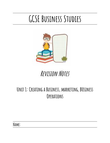 GCSE Business Studies Unit 1 Revision notes