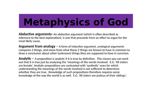 AQA A level:  Metaphysics of God flash cards of key terms