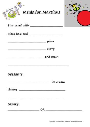 Meals for Martians - fun sheet + guide