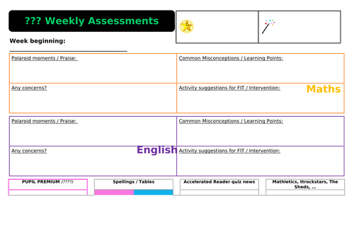 Whole Class weekly assessment grid