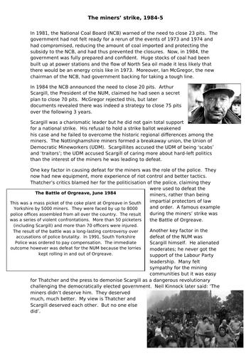 AQA A Level 7042 - Britain 2S - why did the miners' strike fail?