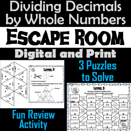 c9890856bc05 Resources Home  Secondary. Dividing Decimals by Whole Numbers Activity   Math Escape Room