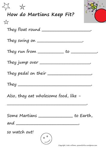 Martian Keep-Fit - crazy-fun writing sheet + guide