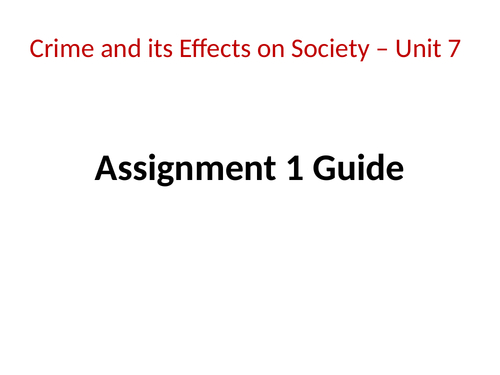 Public Services BTEC: Unit 7 Crime and Effects, Learning Aim A - The impact on individuals