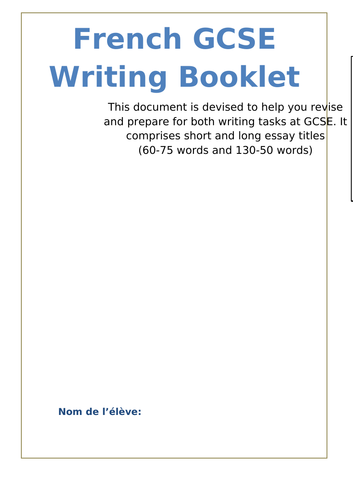 NEW GCSE WRITING BOOKLET: 7 Model Essays, 24 Essay titles, Useful Tips  and  Structures