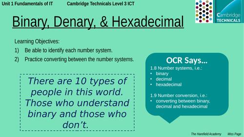 Cambridge Technicals Unit 1 - Binary, Denary, & Hex Conversion