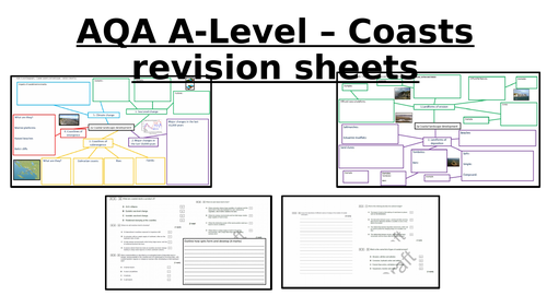 AQA A Level Geography - coasts revision sheets with exam questions