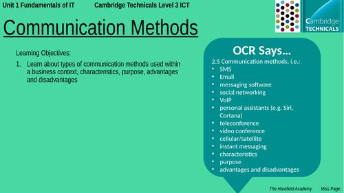 Cambridge Technicals Unit 1 - Communication Methods