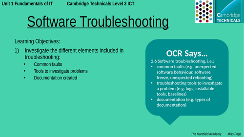 Cambridge Technicals Unit 1 - Software Troubleshooting