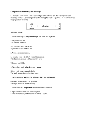 Italian Grammar - Comparatives & Superlatives