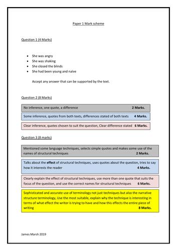 AQA GCSE Paper 1 Exam question practice