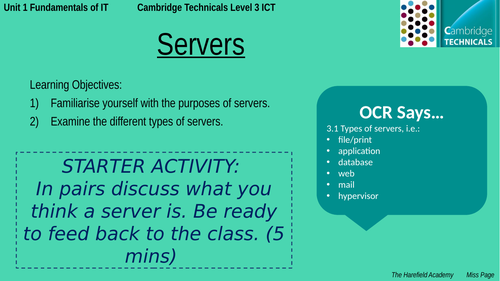 Cambridge Technicals Unit 1 - Servers