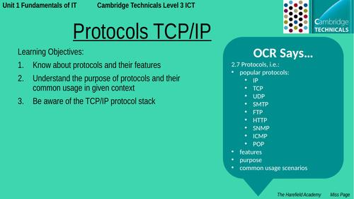 Cambridge Technicals Unit 1 - Protocols TCP/IP