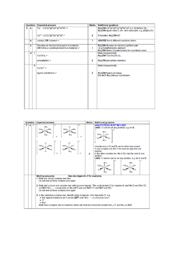 A LEVEL CHEMISTRY - TRANSITION METALS EXAM QUESTIONS