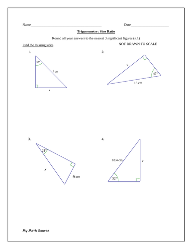Trigonometry Using The Sine Ratio Teaching Resources