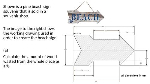 Design Technology: 9-1 Timbers Sample Maths Question