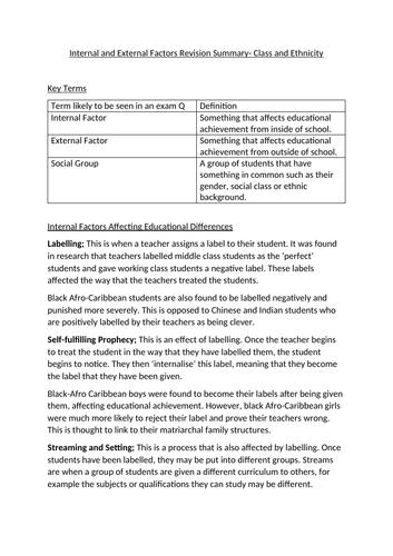 GCSE/ A Level Sociology Education Revision Notes- Internal and External  Factors