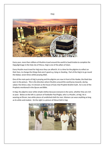 Hajj worksheet Islam RE