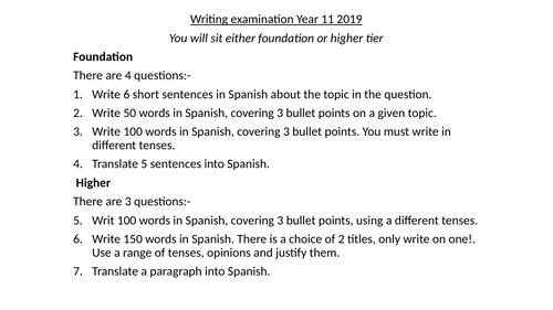Spanish GCSE  Writing exam revision lesson WJEC