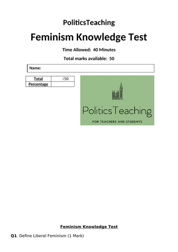 Feminism 50 Mark Knowledge Test (With Answers) 2019 - Editable