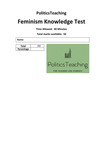 Feminism 50 Mark Knowledge Test (with Answers) 2019 - Non Editable