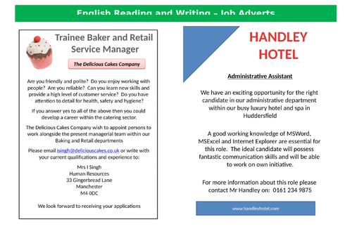 Functional Skills English Reading and Writing EL3-L1 - Job Adverts