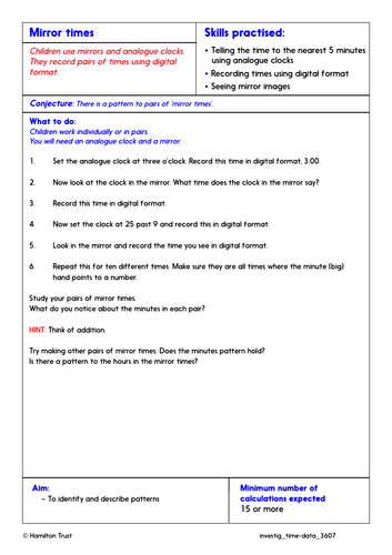 Tell the time to nearest minute - Problem-Solving Investigation - Year 3