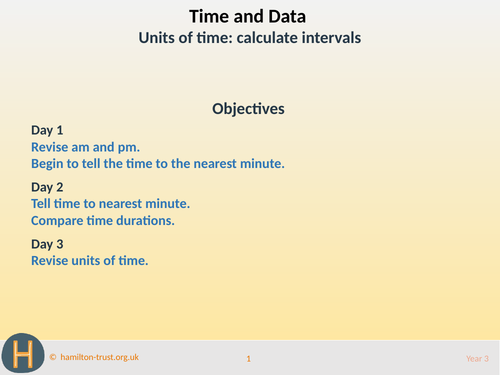Units of time: calculate intervals - Teaching Presentation - Year 3