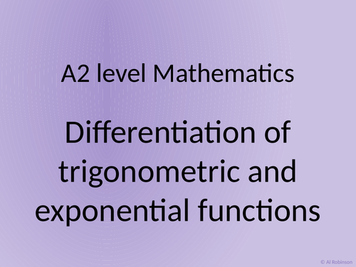 A level A2 Mathematics Differentitaion of trigonometric and exponential and points of inflection