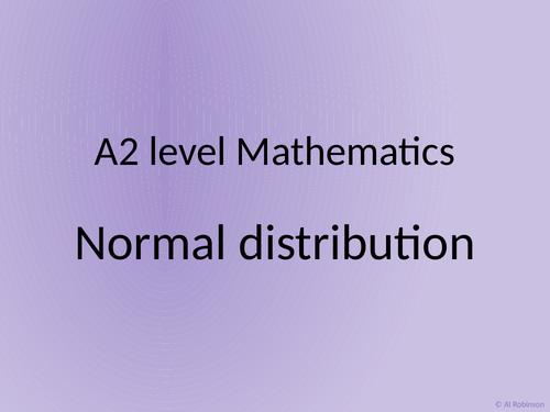 A level A2 Mathematics Statistics – Normal distribution