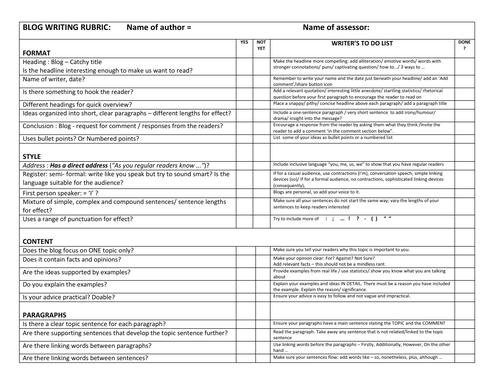 IB ENGLISH B TEXT TYPES: Blog Writing Rubric